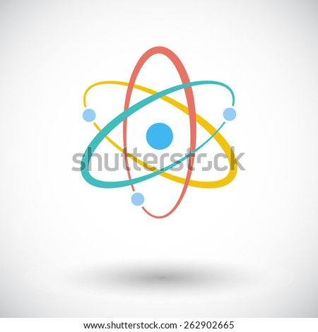 Atom. Single flat icon on white background. Vector illustration. - stock vector