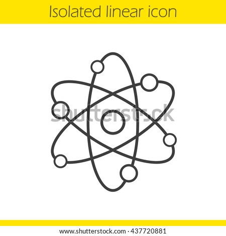 Atom structure linear icon. Physics thin line illustration. Atomic model. Proton, electron, neutron. Contour symbol. Vector isolated outline drawing - stock vector