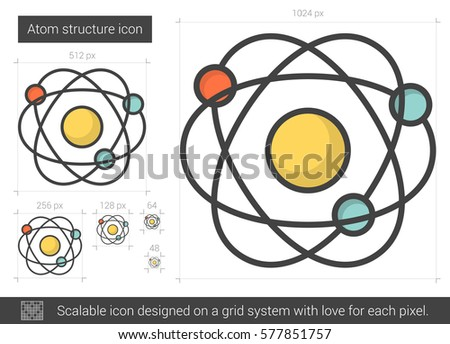 Atom Structure Vector Line Icon Isolated On White Background For Infographic