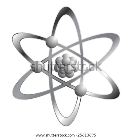 Atom symbol isolated over white square background - stock vector