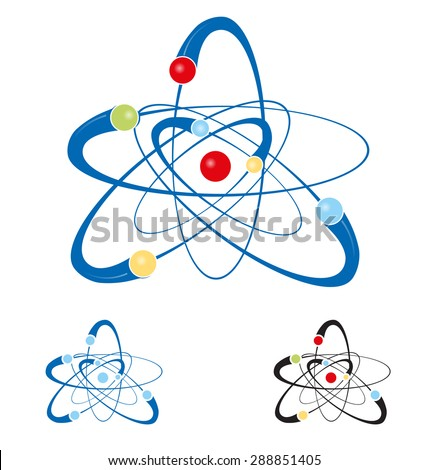 atom symbol set isolated on white background - stock vector