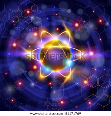 atom symbol, technology background & chemical formulas. Vector illustration / Eps10 - stock vector