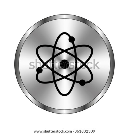 atom - vector icon;  metal button