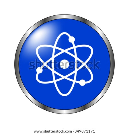 atom - vector icon on the blue button