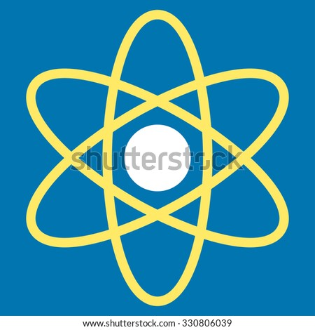 Atom vector icon. Style is bicolor flat symbol, yellow and white colors, rounded angles, blue background.