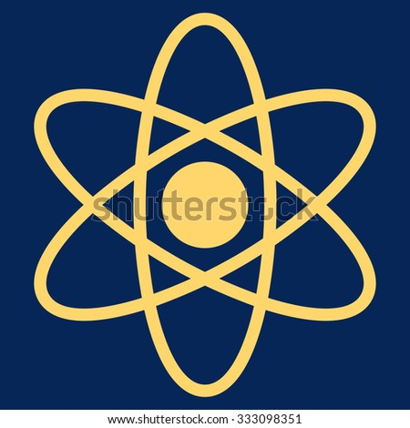 Atom vector icon. Style is flat symbol, yellow color, rounded angles, blue background.