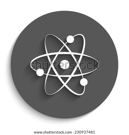 atom - vector icon with shadow on a round grey button