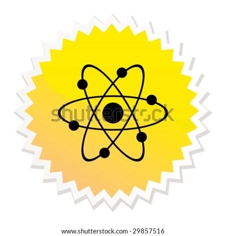 Atom web button - stock vector