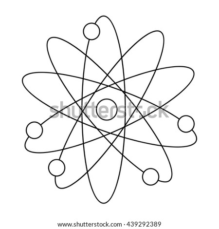 Atom with electrons icon, outline style - stock vector