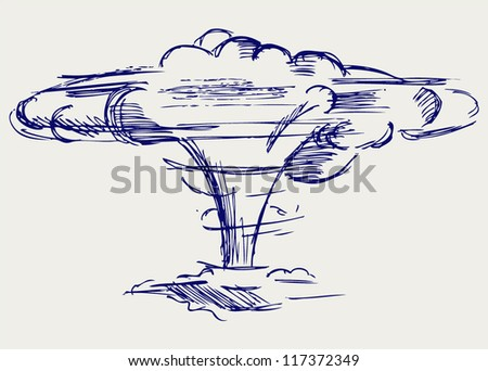 Atomic explosion. Doodle style - stock vector