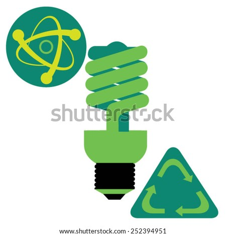 Atomic model, energy efficient light bulb and recycling symbol - stock vector