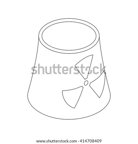 Atomic power station with radiation sign icon - stock vector