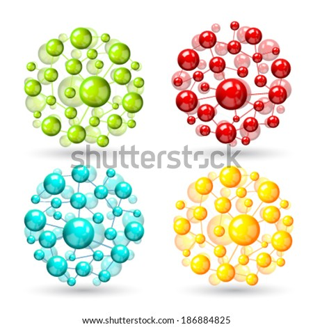 Atomic structure molecule model set of colored spheres with connections vector illustration - stock vector