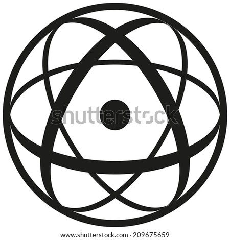 Atomic Symbol consisting of a nucleus in three ellipses and a shell. Black and white illustration on white background. - stock vector