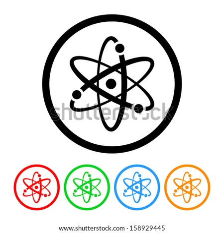 Atomic Symbol Icon with Color Variations - stock vector