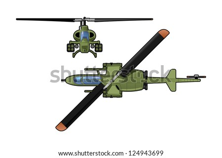 attack helicopter - stock vector
