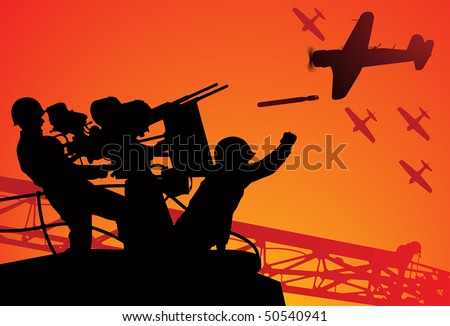 Attack on Pearl Harbor. Vector silhouette of two sailors with an anti-aircraft gun and torpedo bombers on the background.