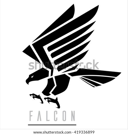 Attacking Falcon, Flying Eagle, spread out its feather - stock vector