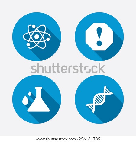 Attention and DNA icons. Chemistry flask sign. Atom symbol. Circle concept web buttons. Vector - stock vector