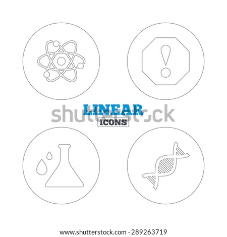 Attention and DNA icons. Chemistry flask sign. Atom symbol. Linear outline web icons. Vector - stock vector