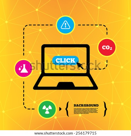 Attention and radiation icons. Chemistry flask sign. CO2 carbon dioxide symbol. Notebook device orange background with icons. Vector - stock vector