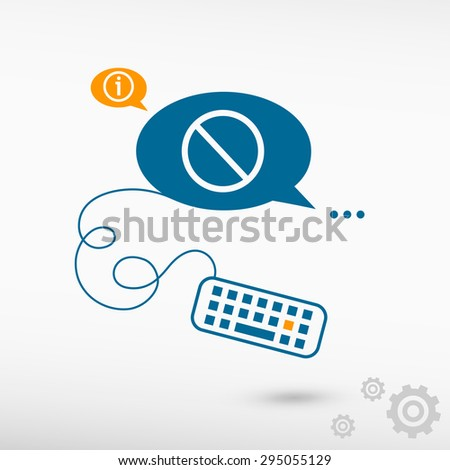 Attention caution and keyboard on chat speech bubbles. Line icons for application and creative process - stock vector