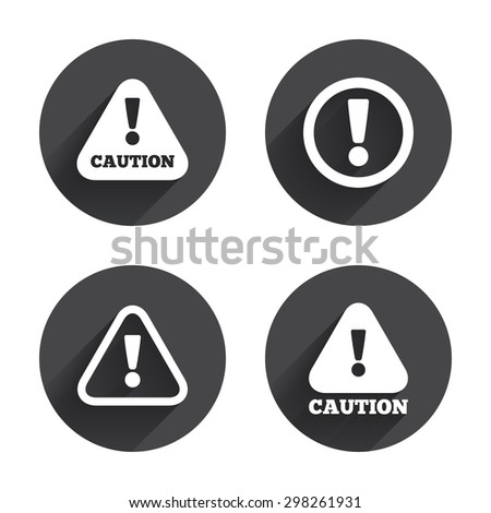 Attention caution icons. Hazard warning symbols. Exclamation sign. Circles buttons with long flat shadow. Vector - stock vector