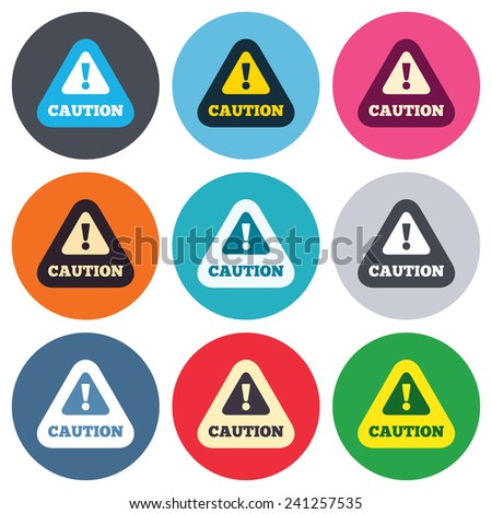 Attention caution sign icon. Exclamation mark. Hazard warning symbol. Colored round buttons. Flat design circle icons set. Vector - stock vector