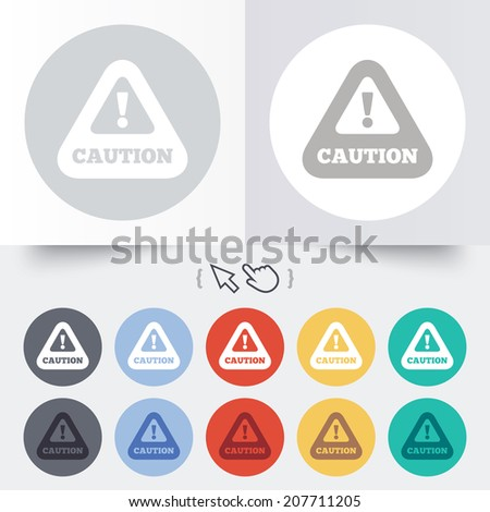 Attention caution sign icon. Exclamation mark. Hazard warning symbol. Round 12 circle buttons. Shadow. Hand cursor pointer. Vector - stock vector