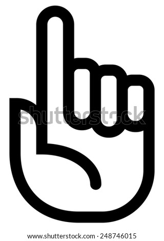 Attention finger outline icon - stock vector