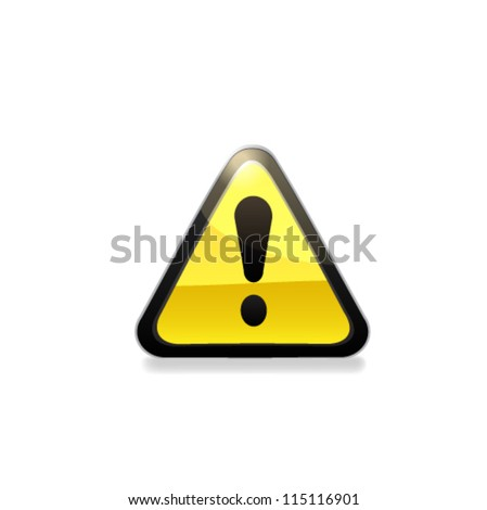 Attention glossy road sign. Vector - stock vector