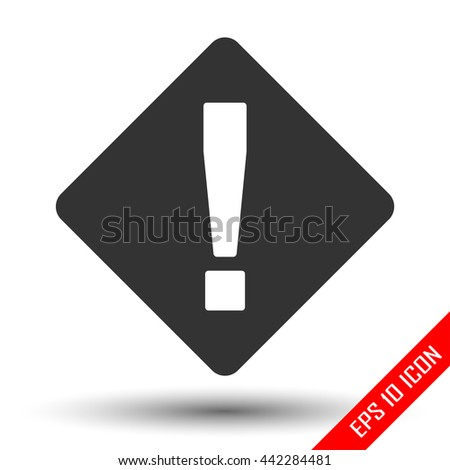 Attention icon. Exclamation sign. Simple flat logo of attention sign isolated on white background. Vector illustration.
