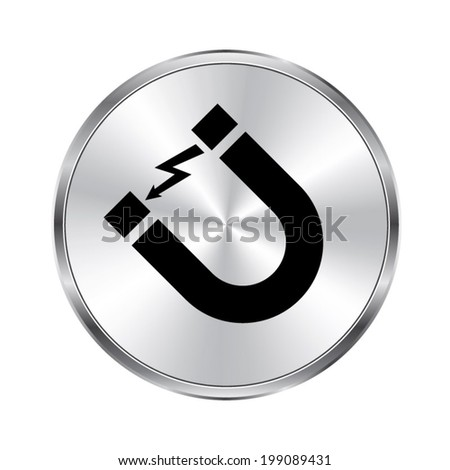 Attention magnet sign - vector brushed metal button - stock vector