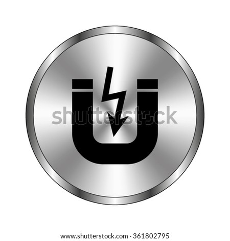 Attention magnet - vector icon;  metal button - stock vector
