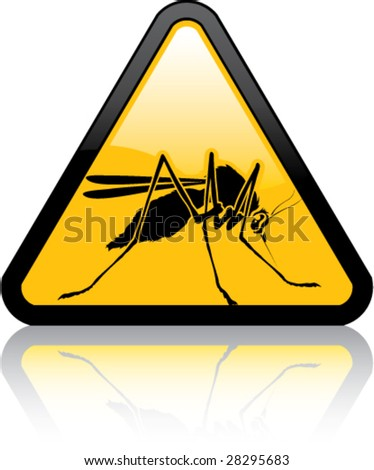 Attention Mosquitoes Sign - stock vector