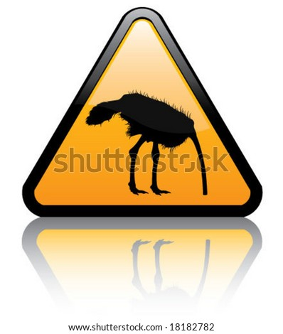 attention ostrich w head in a sand