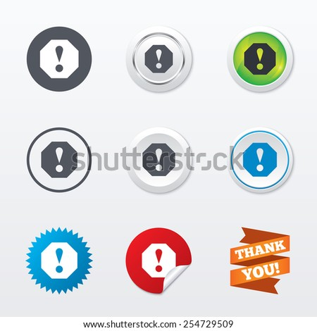 Attention sign icon. Exclamation mark. Hazard warning symbol. Circle concept buttons. Metal edging. Star and label sticker. Vector - stock vector