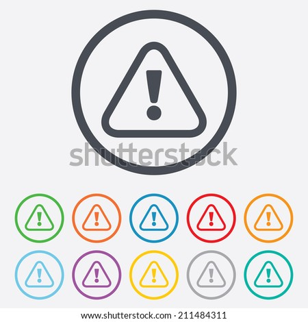 Attention sign icon. Exclamation mark. Hazard warning symbol. Round circle buttons with frame. Vector - stock vector