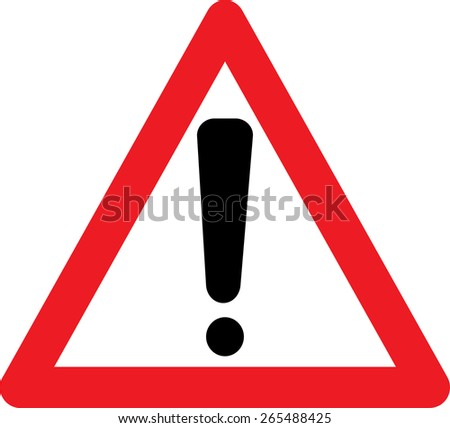 Attention sign with exclamation mark symbol on white background - stock vector
