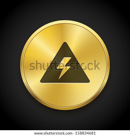 Attention warning icon on metal button. Vector illustration web design.  - stock vector