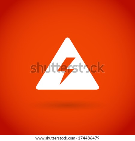 Attention warning icon on red vector background. - stock vector