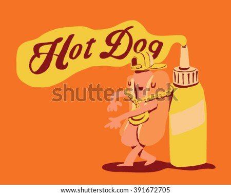 Attitude Hot-Dog with gold chain accesory and Mustard spilling from bottle - style vector illustration isolated on orange background - Sign