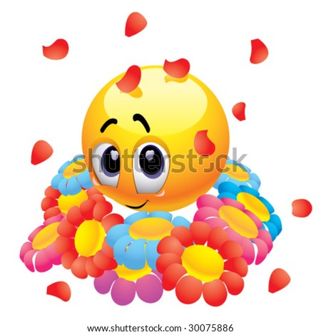 Attracted smiley ball with flowers - stock vector