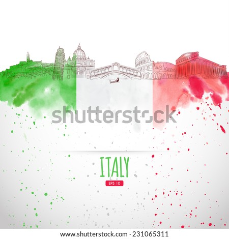 Attraction of Italy painted in the style of the sketch. Watercolor background. Italian moisture. Vector illustration. - stock vector