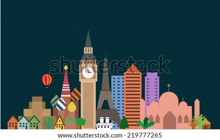 attractions  - stock vector
