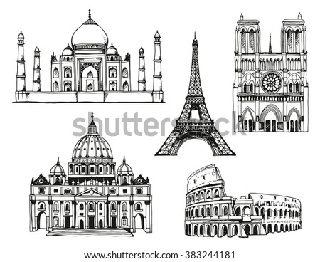 Attractions of the world. Taj Mahal in India, Eiffel Tower and Notre Dame de Paris Cathedral in France, Coliseum and St. Peter's Basilica in Italy. Vector illustration isolated on white background - stock vector