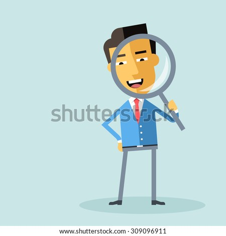 Attractive asian businessman in formal suit looking through a magnifying glass. Business concept for recruiting and researches. Cartoon character - manager with loupe. Vector flat design. - stock vector