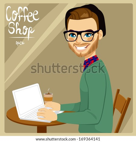 Attractive brown haired hipster style man with his laptop enjoying a hot coffee in coffee shop - stock vector