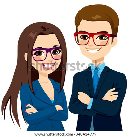 Attractive businessman and beautiful businesswoman partners standing together with crossed arms - stock vector