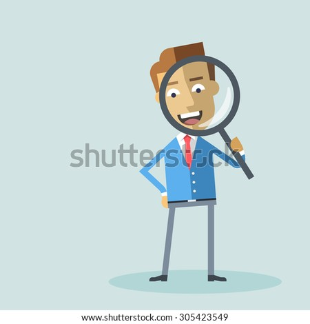 Attractive businessman in formal suit looking through a magnifying glass. Business concept for recruiting and researches. Cartoon character - manager with loupe. Vector flat design illustration. - stock vector